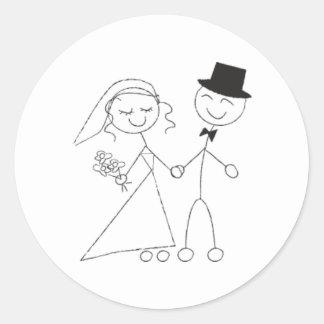 Stick Figure Bride Amp Groom Wedding RSVP Invitation Classic Round Sticker