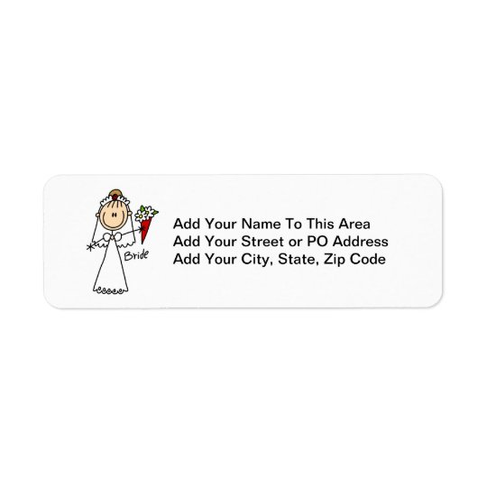 Stick Figure Bride T shirts and Gifts Return Address Label