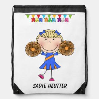 Stick Figure Cheerleader Drawstring Backpack Bag
