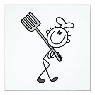 Stick Figure Chef With Fork 13 Cm X 13 Cm Square Invitation Card