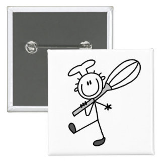 Stick Figure Chef With Whisk 15 Cm Square Badge
