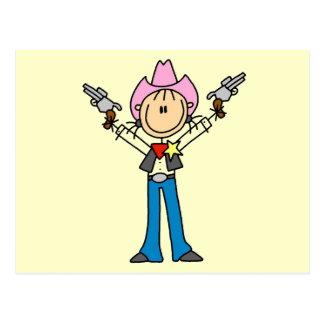 Stick Figure Cowgirl Sheriff Tshirts Postcard