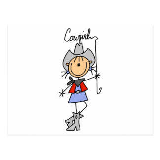 Stick Figure Cowgirl with Lasso Postcard