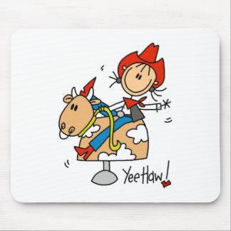 Stick Figure Cowgirl Yee Haw Mousepad
