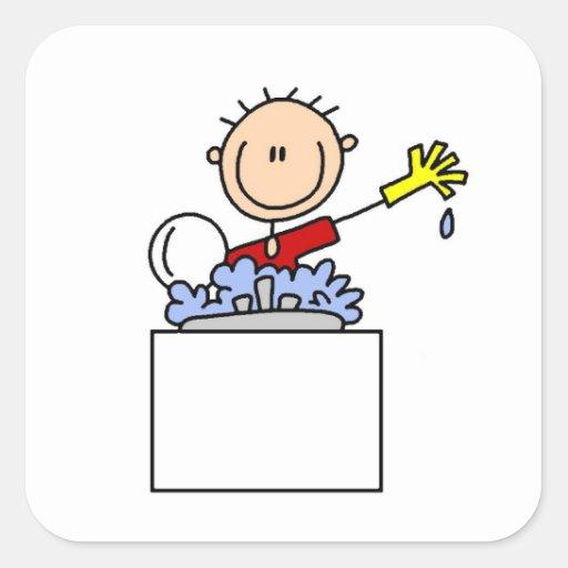 Stick Figure Doing Dishes Square Sticker