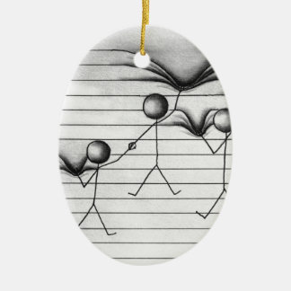 Stick Figure Drawing of Hanging on Lines Ceramic Ornament