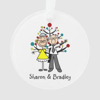 Stick Figure Elderly Couple Acrylic Ornament