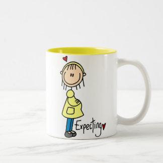 Stick Figure Expecting Baby Two-Tone Mug