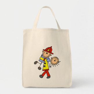 Stick Figure Firefighter Saving Lives Grocery Tote Bag