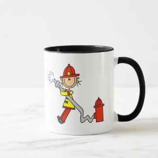 Stick Figure Firefighter with Hose