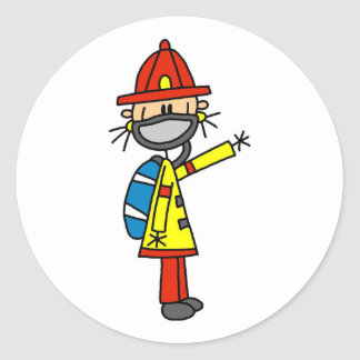 Stick Figure Firefighter with Mask Classic Round Sticker