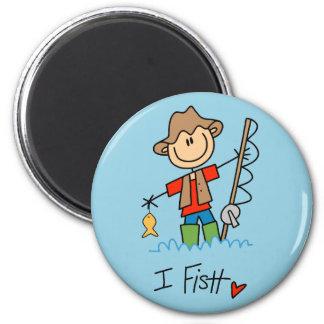 Stick Figure Fisherman 6 Cm Round Magnet
