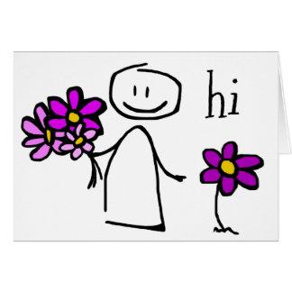 Stick Figure Flowers Hi Notecard