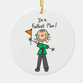 Stick Figure Football Mom Round Ceramic Decoration