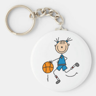 Stick Figure Girl Basketball Player Tshirts Key Ring