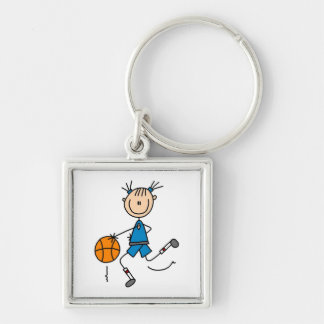 Stick Figure Girl Basketball Player Tshirts Silver-Colored Square Key Ring