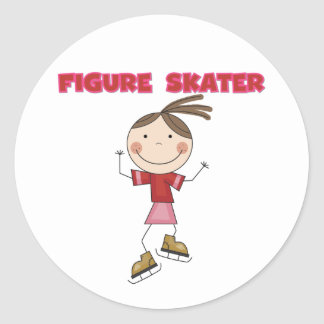 Stick Figure Girl Figure Skater Tshirts and Gifts Classic Round Sticker