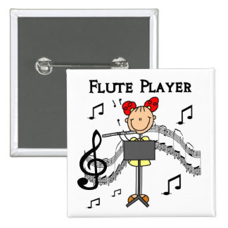 Stick Figure Girl Flute Player Tshirts and Gifts Pinback Buttons
