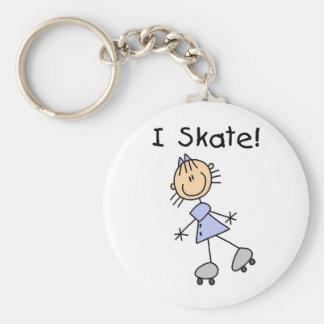 Stick Figure Girl I Skate Basic Round Button Key Ring