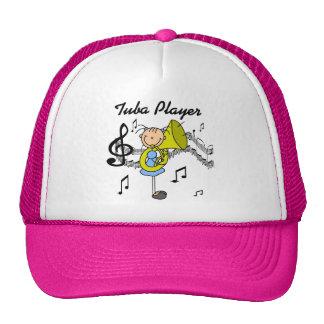 Stick Figure Girl Tuba Player T-shirts and GIfts Mesh Hats