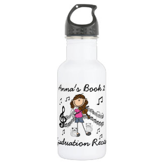 Stick Figure Girl Violin Player Water Bottle