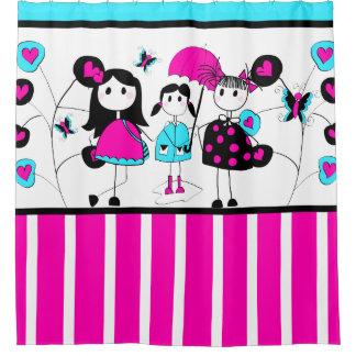 Stick Figure Girls April Showers Hearts Stripes Shower Curtain