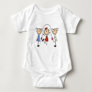 Stick Figure GIrls Jumping Rope Baby Bodysuit