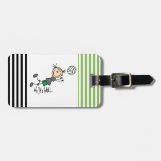 Stick Figure Girls Volleyball T-shirts and Gifts Luggage Tag