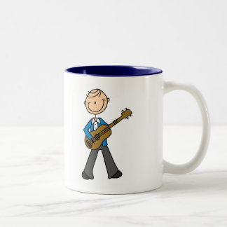 Stick Figure Guitar Player Tshirts and Gifts Two-Tone Coffee Mug