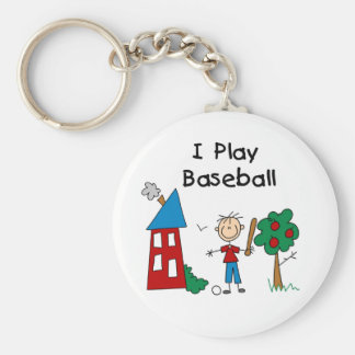 Stick Figure I Play Baseball Tshirts and Gifts Basic Round Button Key Ring