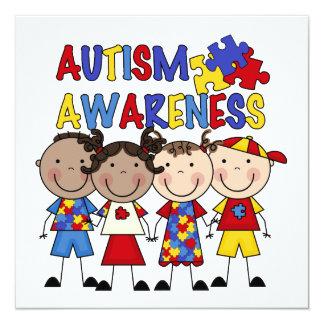 Stick Figure Kids Autism Awareness 13 Cm X 13 Cm Square Invitation Card