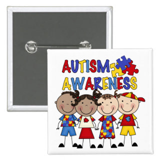 Stick Figure Kids Autism Awareness 15 Cm Square Badge
