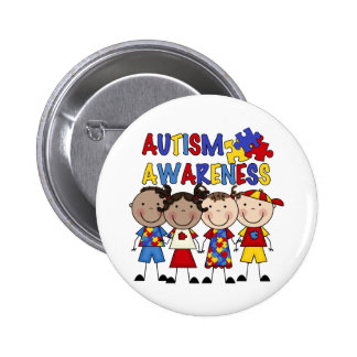 Stick Figure Kids Autism Awareness 6 Cm Round Badge