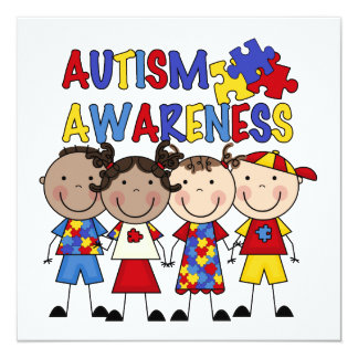 Stick Figure Kids Autism Awareness Card