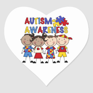 Stick Figure Kids Autism Awareness Heart Sticker