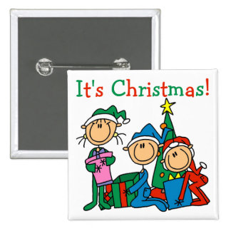 Stick Figure Kids It's Christmas Tshirts and Gifts 15 Cm Square Badge