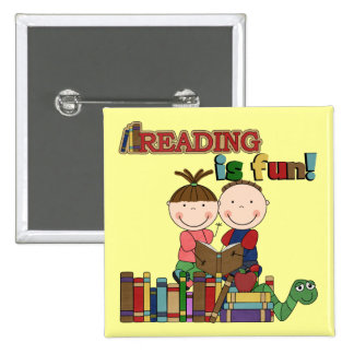 Stick Figure Kids Reading is Fun 15 Cm Square Badge