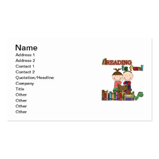 Stick Figure Kids Reading is Fun Business Card Template
