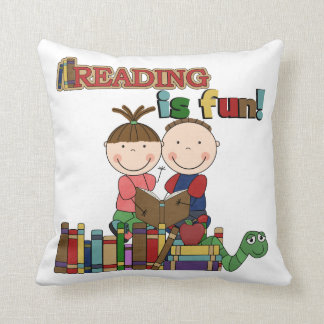 Stick Figure Kids Reading is Fun Throw Cushions