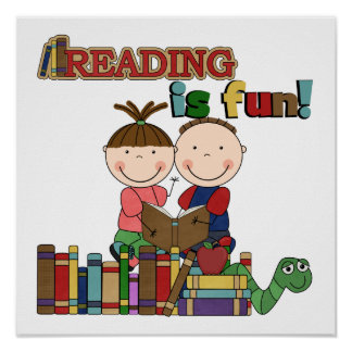 Stick Figure Kids Reading is Fun Poster