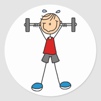 Stick Figure Lifting Weights Sticker