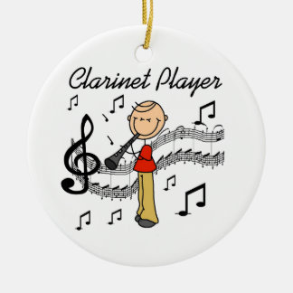 Stick Figure Male Clarinet Player Tshirts and Gift Ceramic Ornament