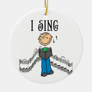 Stick Figure Male I Sing T-shirts and Gifts Ceramic Ornament
