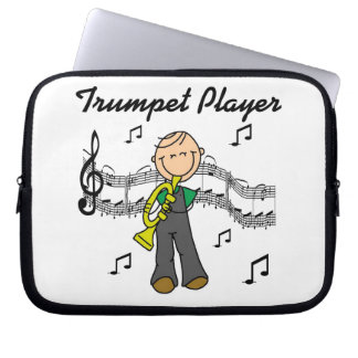 Stick Figure Male Trumpet Player T-shirts and GIft Laptop Computer Sleeves
