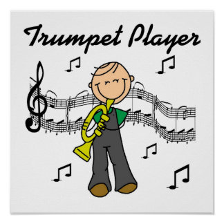 Stick Figure Male Trumpet Player T-shirts and GIft Poster