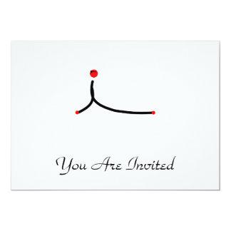 Stick figure of cobra yoga pose. 13 cm x 18 cm invitation card
