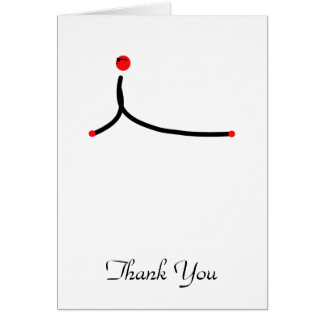 Stick figure of cobra yoga pose. card