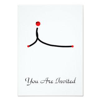 Stick figure of cobra yoga pose. personalized invite