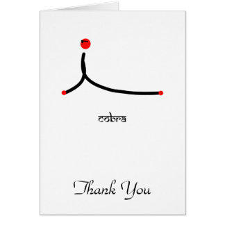 Stick figure of cobra yoga pose with Sanskrit Card