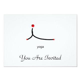 Stick figure of cobra yoga pose with yoga text. 13 cm x 18 cm invitation card